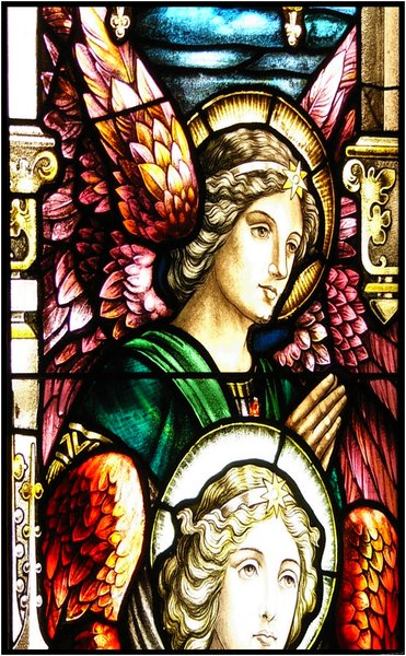 Angels: Stained Glass of Wolfville Baptist Church, Wolfville, Nova Scotia - the oldest continuing Baptist Church in Canada