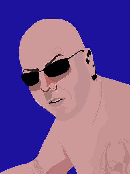 Man with sunglasses: Vectorimage of man with bald head, wearing sunglasses and tattoos on his arms.