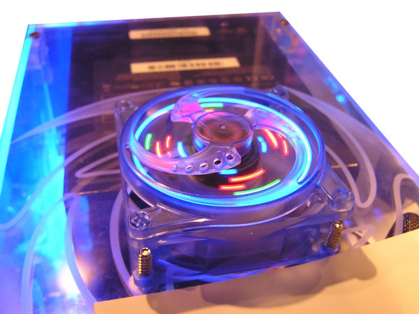 Inside the computer: A part of computer interior.