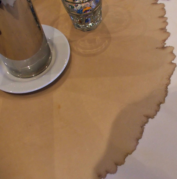 coffee stained: coffee stained table cloth