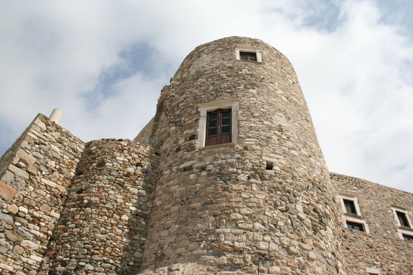 tower: tower in palace in Chora, biggest city on Naxos island, Greece