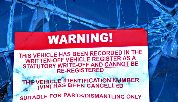 you've been notified: motor vehicle police sign - vehicle written off as beyond repair