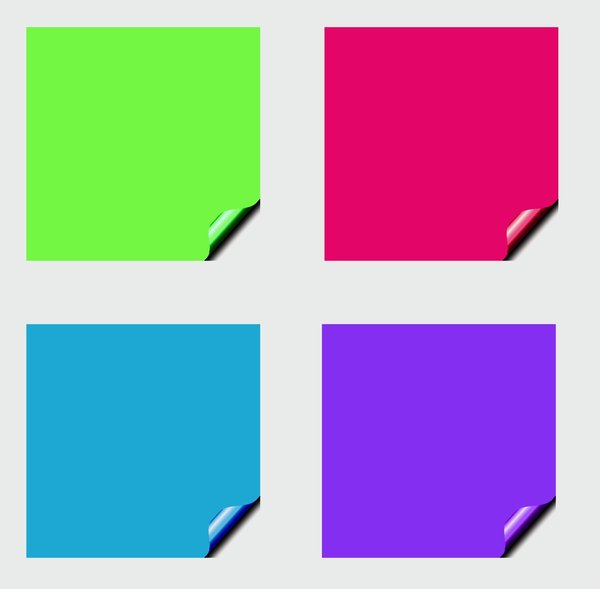 Stickers 12 Squares: Square stickers with a lifted edge, in pastel colours. Copyspace for your pricing, message or announcement. May be used as web buttons.