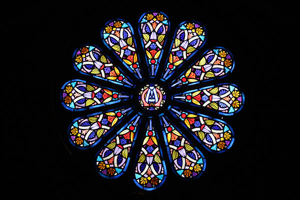 STAINED GLASS: STAINED GLASS WINDOW LOCATED WHERE FANNIE CELEBRATED HER 101st BIRTHDAY