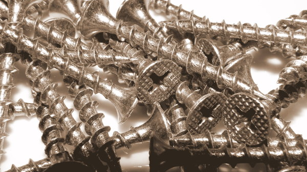 Stainless screws in sepia