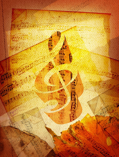 Sheet Music 2: Variations on a sheet music collage.