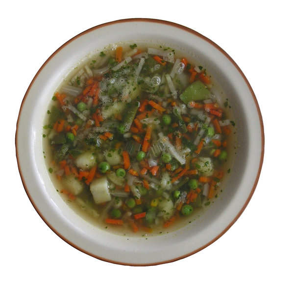 A plate of soup: A plate of vegetable soup