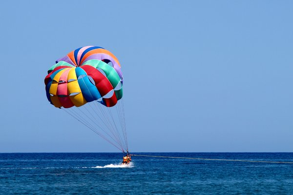 Parasailing: Flying after a speedboat in a parachute is a hit
