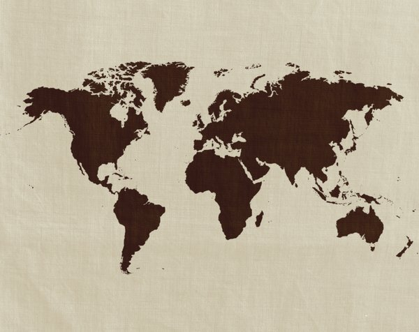 Linen Map: Linen textured world map.  Lots of copyspace.