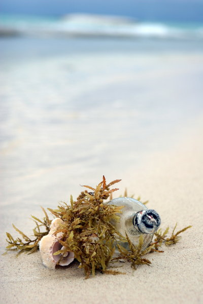message in the bottle: bottle in the sand;sunny beach and dinner tables