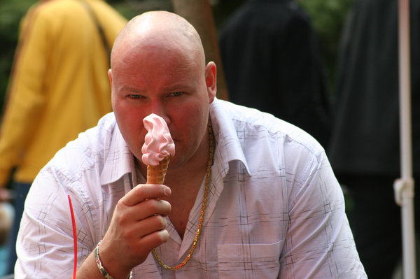 ice cream: bald man
