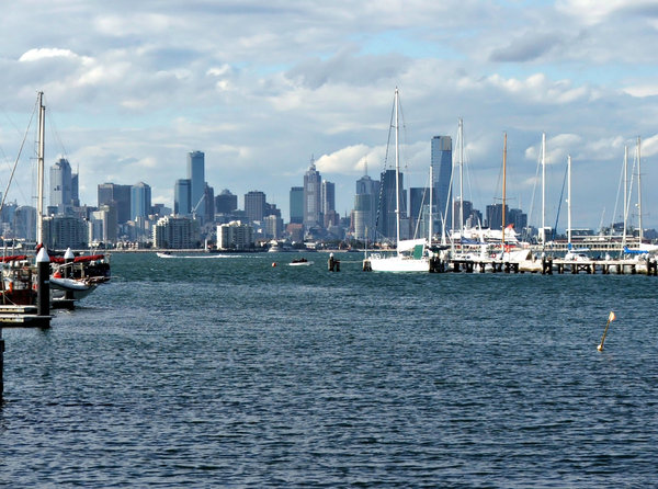harbour cityscape: City of Melbourne viewed from Williamstown across Port Phillip Bay