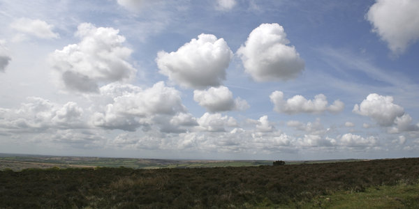 Moorland panorama: Three-shot photomerge of moorland landscape in Exmoor, Devon, England, in spring.