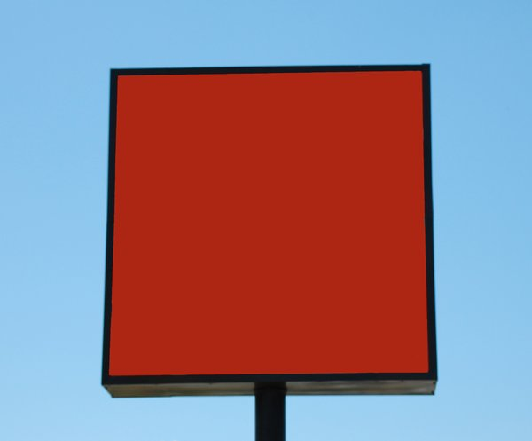 Rectangular, 1 post sign on bl: free-standing sign used to convey advertising and information.