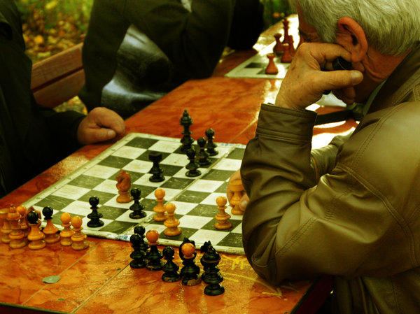 chess: old man playing chess
