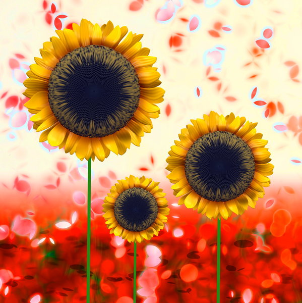 Trio of Sunflowers: A graphic of sunflowers against falling petals. Can represent spring or summer.