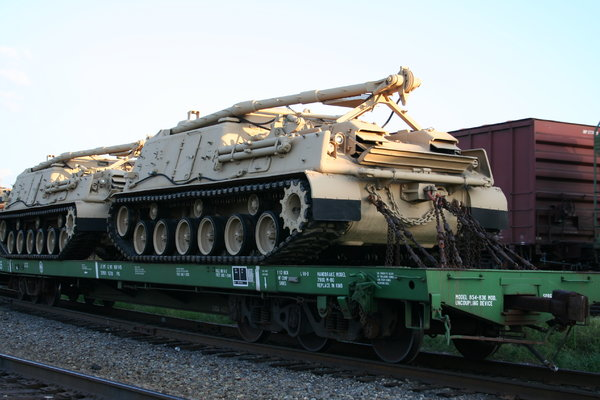 Military Tanks on Train: Military Tanks being transported on a Train