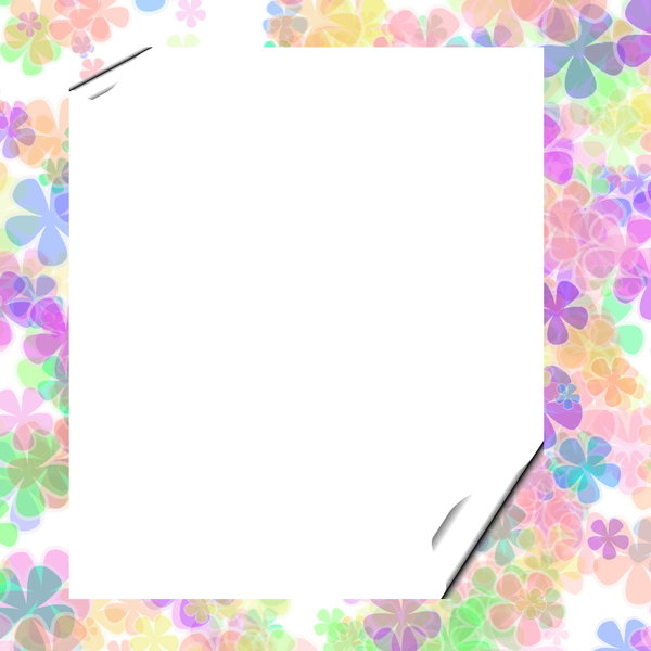 You're invited 6: Blank notecard in floral multi coloured pastel shades suitable for an invitation, banner, birthday, congratulations - many uses. White blank area against a textured pastel background.