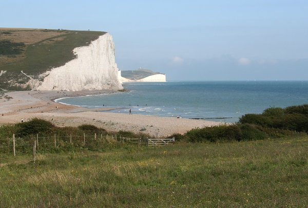 Meadow, cliffs and beach