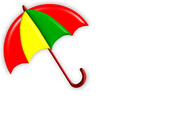 Summer Shade 3: Bright, summery umbrella or parasol with plenty of copyspace. Red, yellow, green,