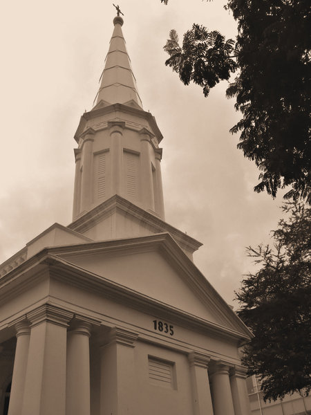 aspiring history: sepia image of old historic church
