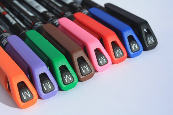 Acetate pens: Close up of a row of acetate pens