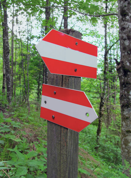 direction signs: two red-white arrow direction signs in wood