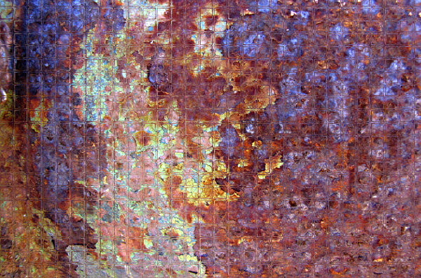 multicoloured glass mosaic: abstract backgrounds, textures, patterns, geometric patterns and  perspectives from altering and manipulating rust image