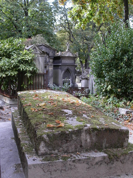 moss-covered grave: a moss-covered grave it the graveyard 'pere lachaise' in paris. seems to be a very old one with the permission to stay there forever ..