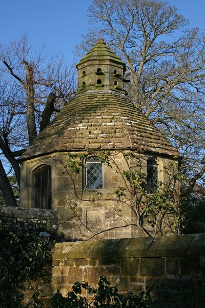 Old dovecote: An old stone dovecote in West Sussex, England, in winter.