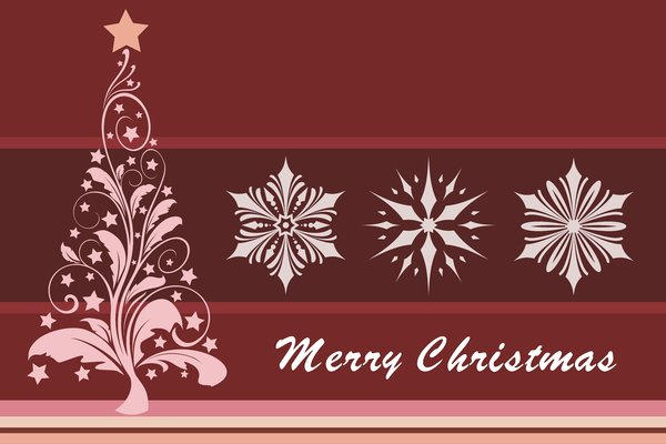Christmas Card: Christmas card with Christmas tree and snowflakes
