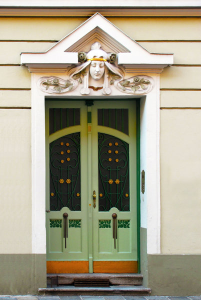 Art nouveau door: green art nouveau (jugendstil) decorated door