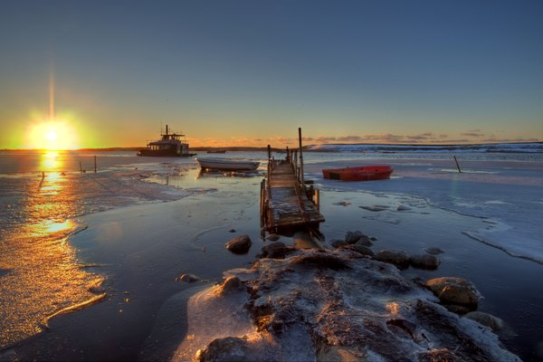 Ships in icy water - HDR: Ships and boats in icy water. The picture is HDR.