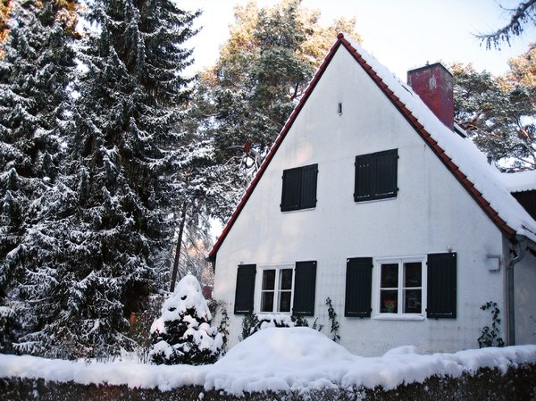 rural cottage in winter