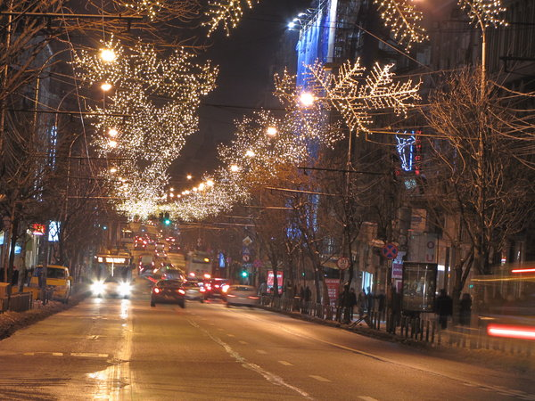 Christmas light: Bucharest December night in the street