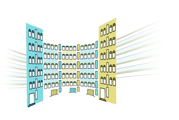 Corporate illustration: Corporate buildings illustration