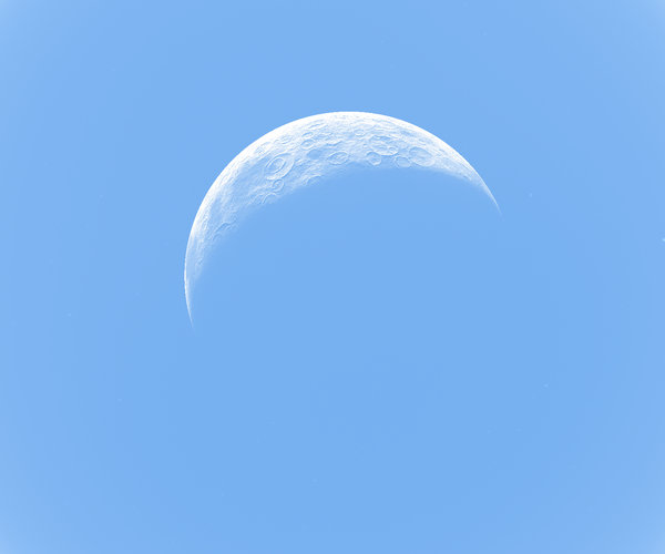 Crescent Moon on Blue