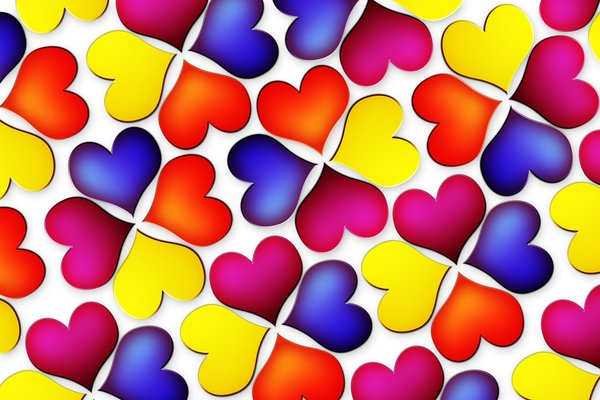 Colorful heart flowers: texture of heart shaped flowers