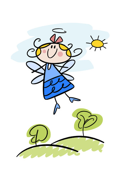 Cute little cartoon angel: Colorful doodle illustration of a happy little angel girl