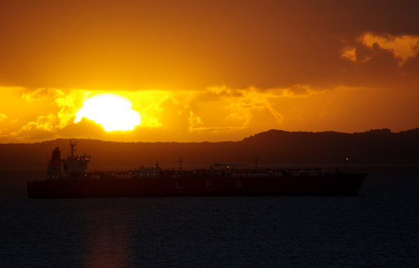 Sunset in the Northern Territo: tanker at anchor Darwin harbour