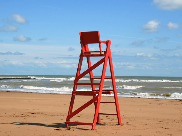 Lifeguard's chair: A lifeguard's chair on a beach in Kent, England.