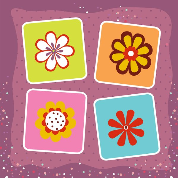 Kids flowers in squares