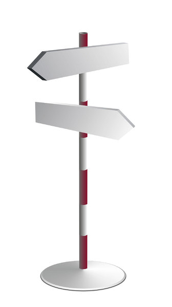 steel signpost: Put the text on the arrows.