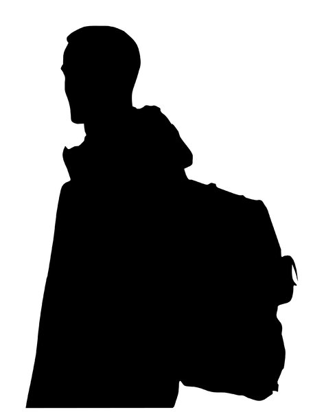 Man with backpack: A young male with backpack on his back.