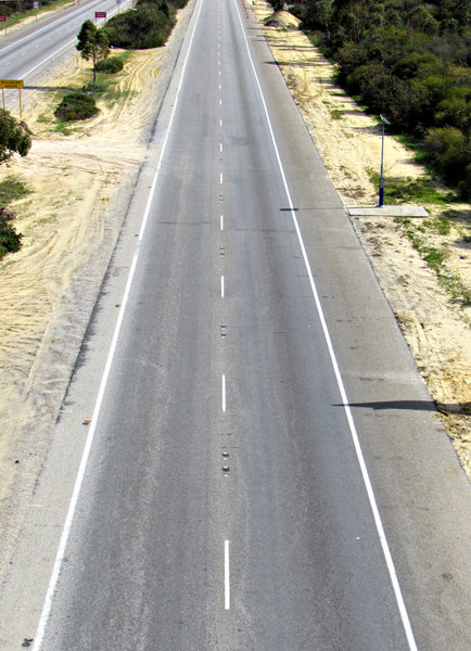 empty highway: stretch of highway closed for major redevelopment roadwork