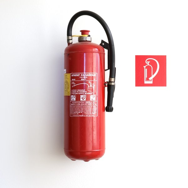 Fire Extinguisher: Fire extinguisher hanging on the wall
