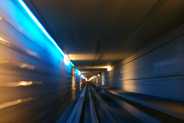 airport tunnel: train tunnel at denver international airport.