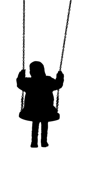 Silhouette child on a swing: a series of three images depicting playing children