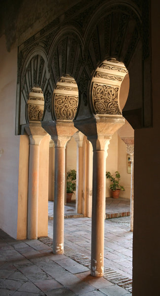 Moorish pillars: Part of the Alcazaba, a Moorish fortified palace in Málaga, southern Spain.