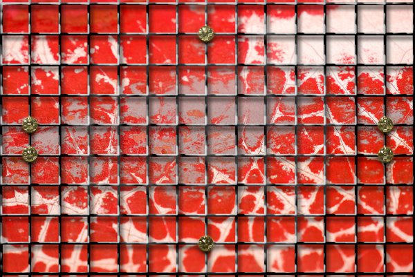 Red peeled wall with iron grid: Mixed media. Texture with grid illustration.